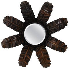 French Wood Leaves Sunburst Mirror Style Art Deco
