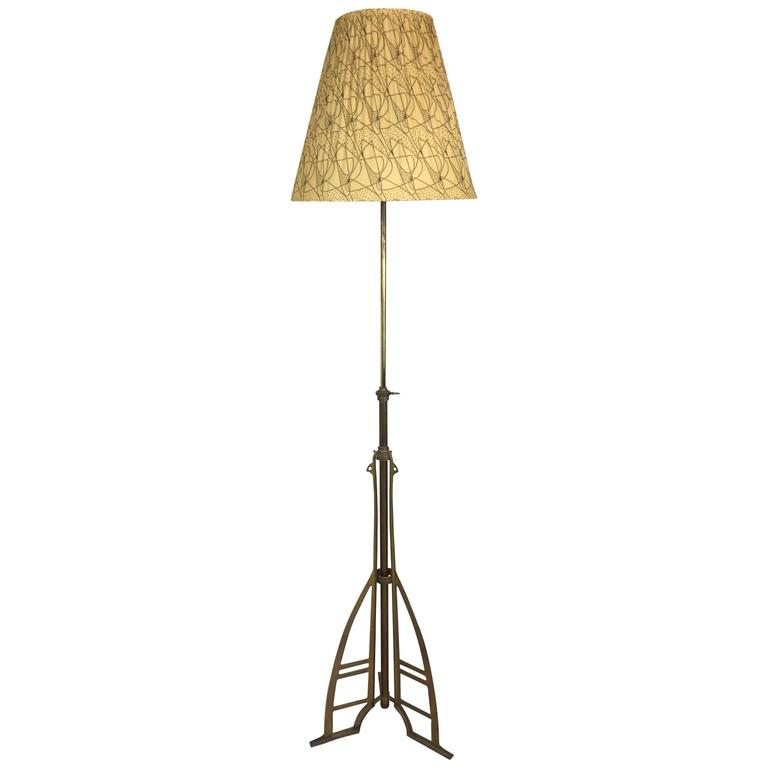 mid century brass floor lamp 1950s for sale at 1stdibs. Black Bedroom Furniture Sets. Home Design Ideas