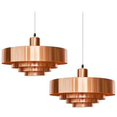 """Pair of """"Rulet"""" Ceiling Lamps in Brass"""