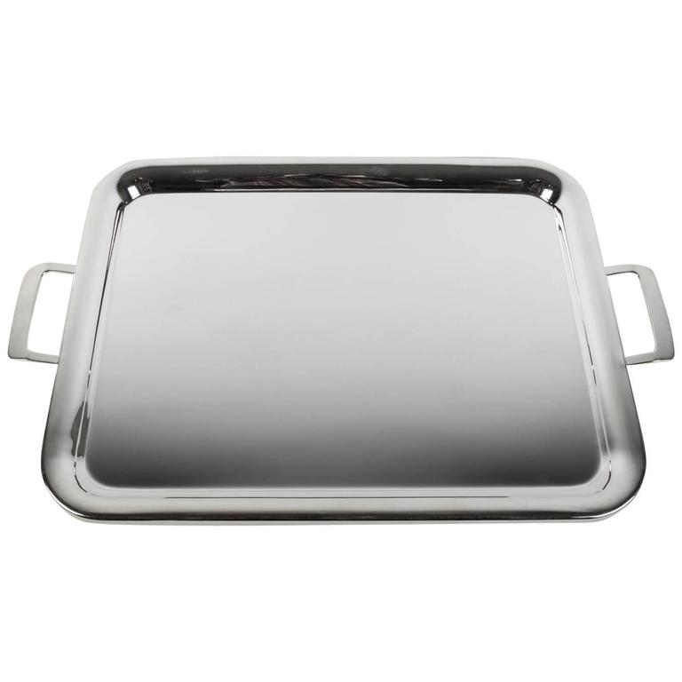 Large Vintage English Silver Plated Tray with Handles