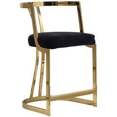 Counter Height Brass Framed Upholstered Chair, 1980s