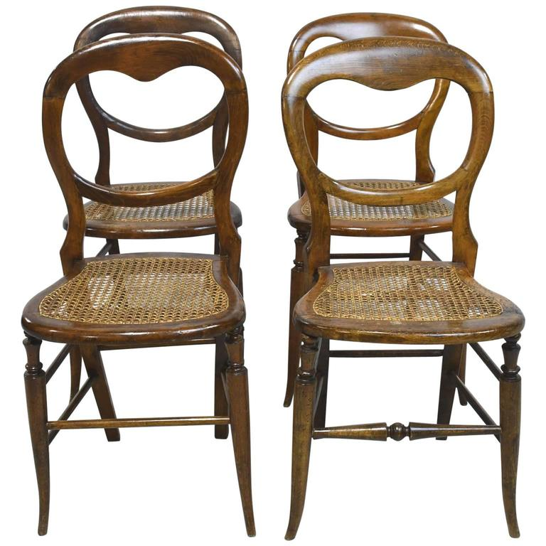 Set Of Four Louis Philippe Country French Chairs With Woven Cane Seats For  Sale