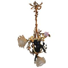 Wonderful French Bronze Bow Top Patinated Cherub Putti Porcelain Flowers Fixture