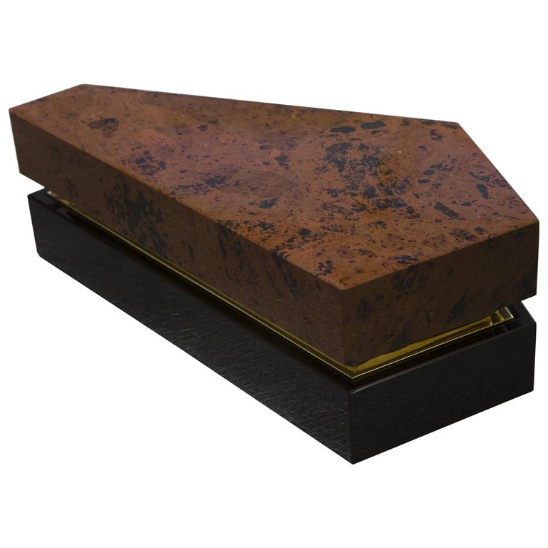 Black and Red Obsidian Decorative Box by Gloria Cortina For Sale