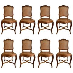 Set of Eight 19th Century French Carved Walnut Dining Chairs