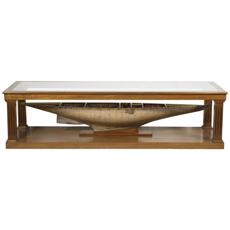 custom-made coffee table with antique pond yacht model for sale at