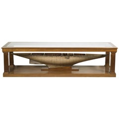 Custom-Made Coffee Table with Antique Pond Yacht Model