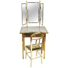 1950s Italian Brass Dressing-Table and Chair