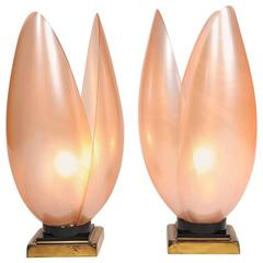 1950s Italian Pink Lotus Flower Table Lamps