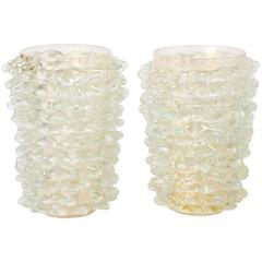 """Silvano Signoretto pair of gold dust Murano glass """"Rostratti"""" vases, Italy 2016"""