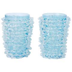 "Silvano Signoretto pair of turquoise Murano glass ""Rostratti"" vases, Italy 2016"