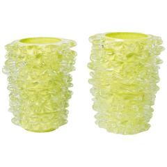 "Silvano Signoretto pair of lyme green Murano glass ""Rostratti"" vases, Italy 2010"