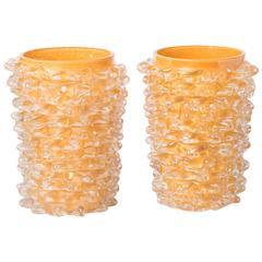 """Silvano Signoretto pair of amber Murano glass """"Rostratti"""" vases, Italy 2016"""