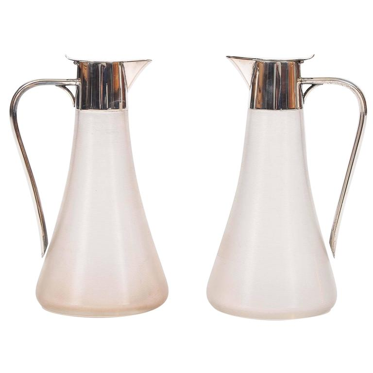 Pair of Ribbed Glass and Silver-Plated Claret Jugs Made by WMF