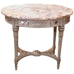 19th Century French Center Table, Painted in Gray Green/Silver Accents