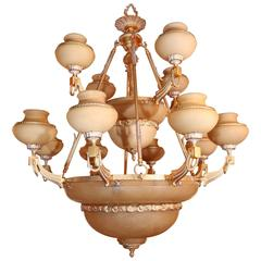 Large Palace Size Alabaster and Gilt Bronze Chandelier in Pale Amber Color