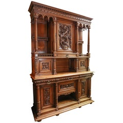 French 19th Century Buffet or Corps De Deux, Henry II, Walnut