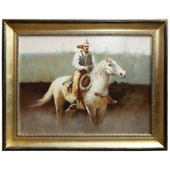 Western Oil on Canvas of a Cowboy On horse back