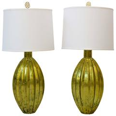 Pair of Vintage Golden Glass Lamps