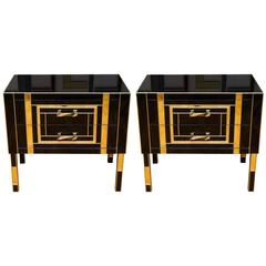Pair of Nightstands in Tinted Glass, Exclusive Design Made for Justine