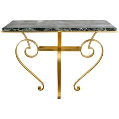Console Table in Golded Wrought Iron with Top in Green Marble