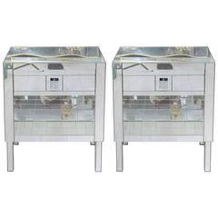 Pair of Nightstands All in Mirror, Exclusive Model by Designer for Justine