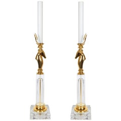 Art Deco Style Glass and Brass Lamps with Gazelle Motif