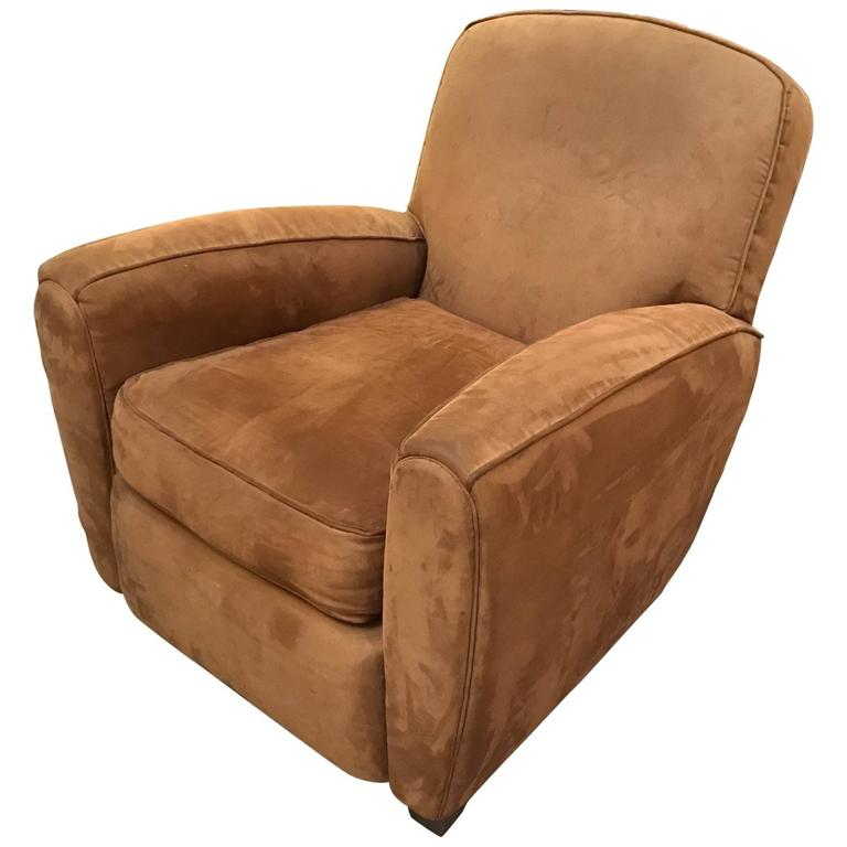 Comfy Soft Suede Leather French Style Club Chair For Sale