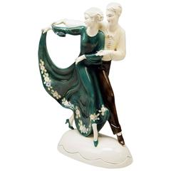 Katzhuette Dancing Couple Thuringia Germany Art Deco Goldscheider Style c.1930