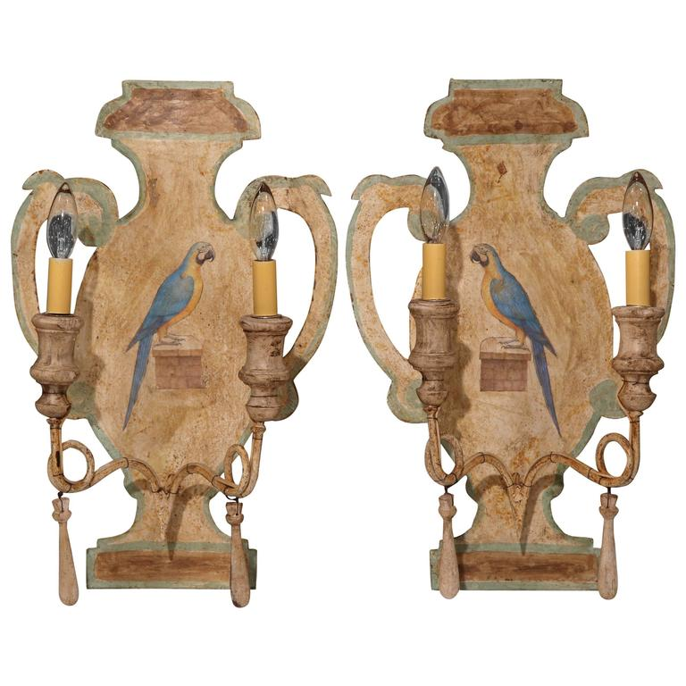 Pair of Mid-20th Century Hand-Painted Tole and Wood Sconces with Parrots