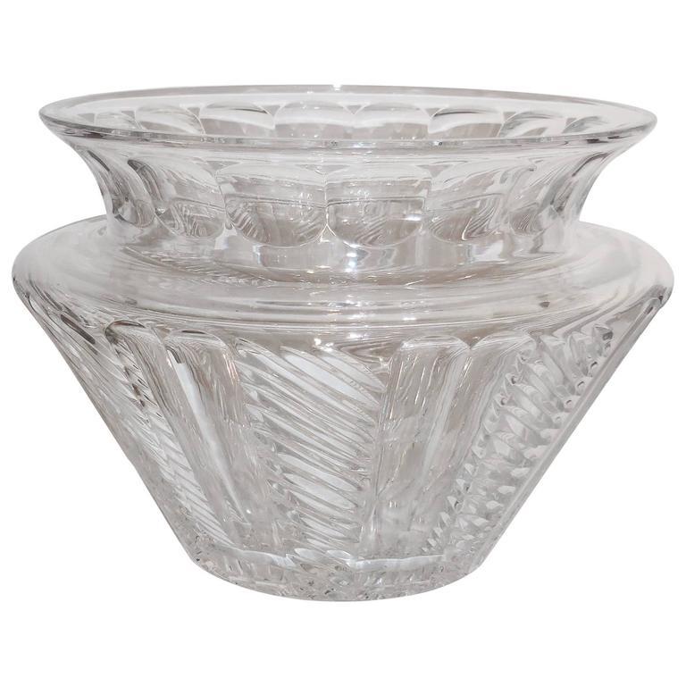 Large American Art Deco Cut-Glass Vase