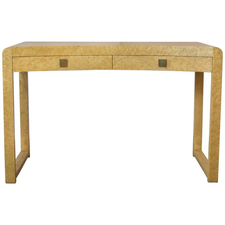 Beautiful Birds-Eye Maple Desk, Vanity or Sofa Table with Brass Drawer Handles