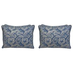 Set of Four Blue and Silvery Gold Fortuny Pillows