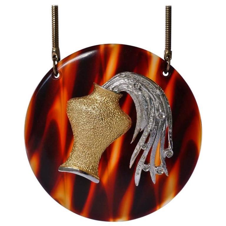 Pierre Cardin Necklace Large Aquarius Pendant, Original Box, 1960s, Italian
