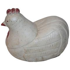 Large Hand-Carved and Painted Folky Chicken