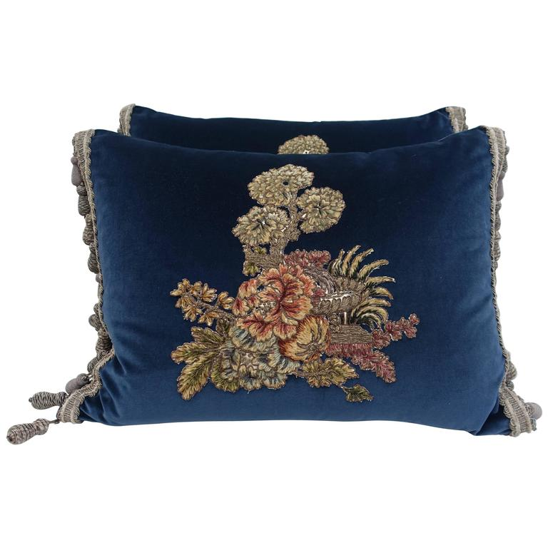 Velvet Pillows with 19th Century French Appliques For Sale