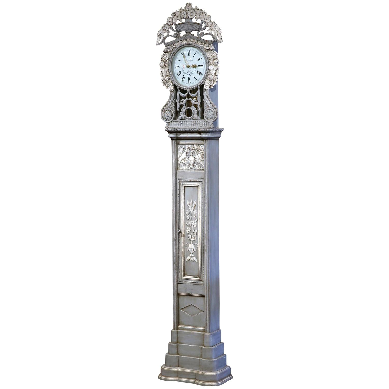 Tall Mid 20th Century French Carved Painted Grandfather Clock From Normandy