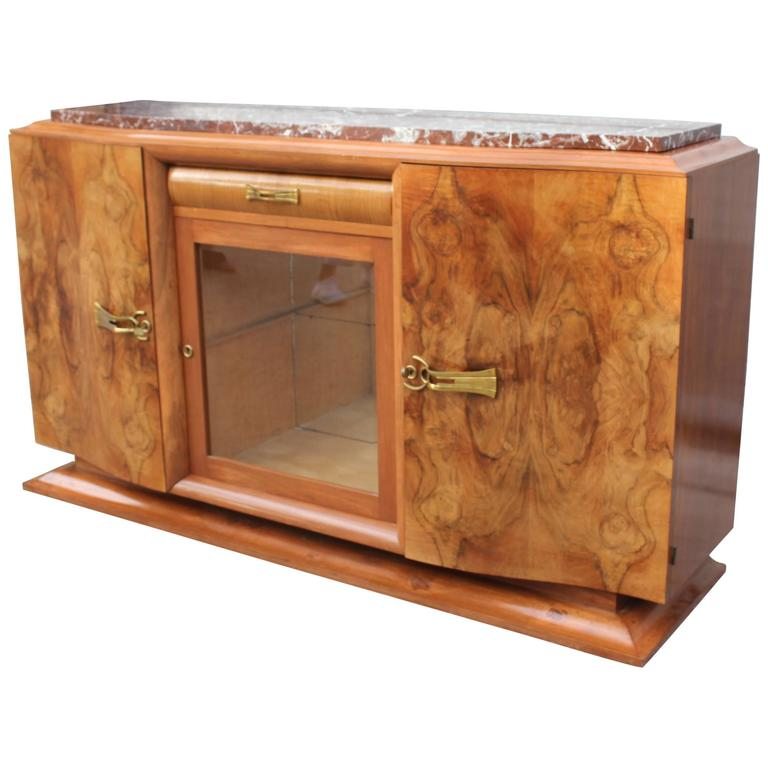 French Art Deco Sideboard or Buffet Exotic Walnut with Marble Top, circa 1930s 1