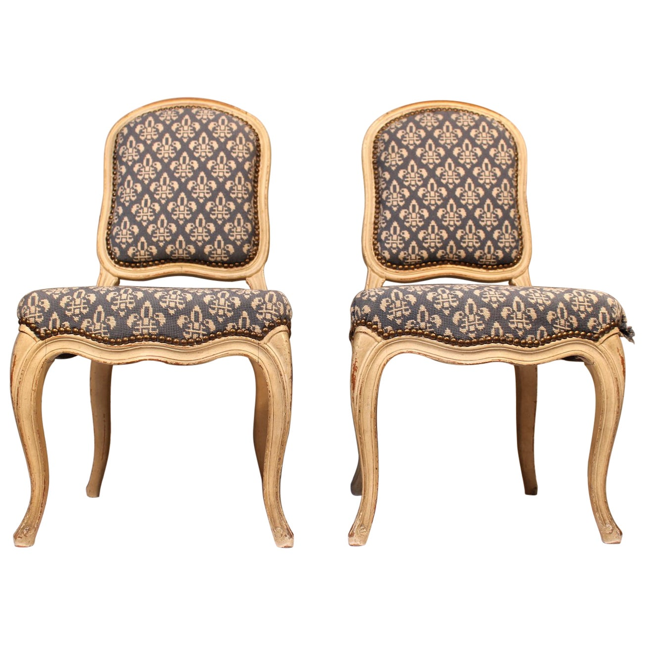 Pair of French Louis XV Painted Children's Chairs
