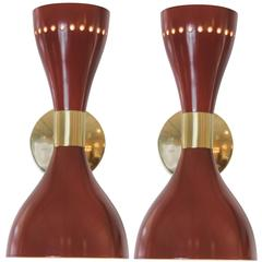Vintage Stilnovo Red Lacquer and Brass Sconces