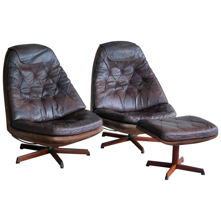 ms68 leather on suede swivel lounge chairs with ottoman at 1stdibs