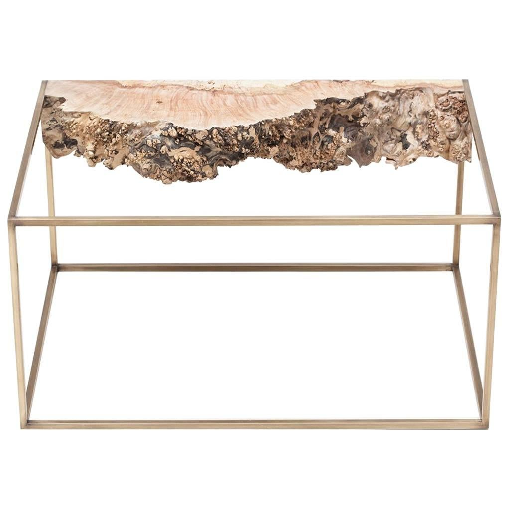 Bronze and Burl Wood Side Table by Huy Bui