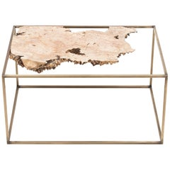 Bronze and Wood Side Table or Sculpture by Huy Bui
