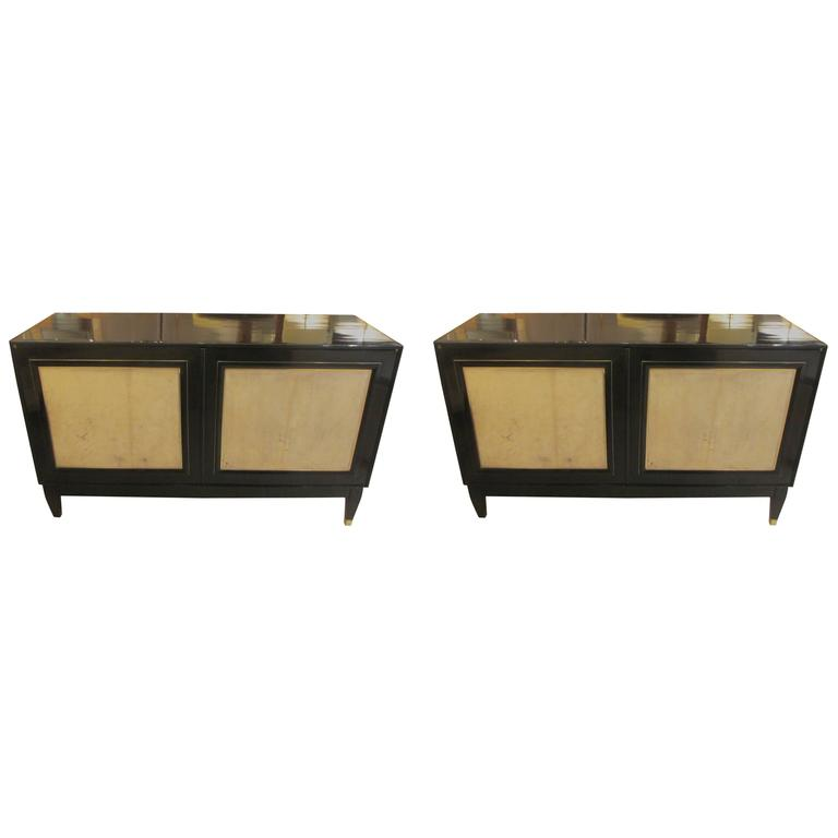 Pair of French Bronze-Inlaid Ebonized Parchment Cabinets 1