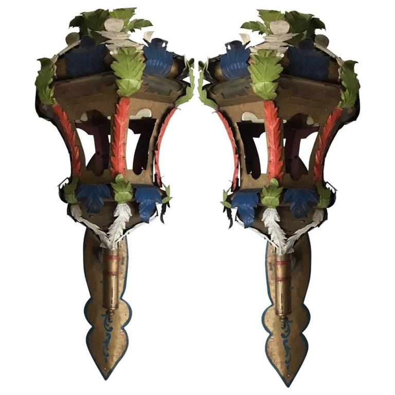 Pair of Painted Wall Sconce Lanterns in the Manner of Tony Duquette For Sale