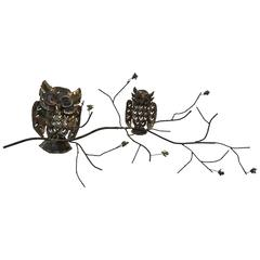 Wonderful Mixed-Metal Owl Wall-Mounted Sculpture by Curtis Jere