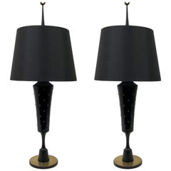 Tommi Parzinger Style Massive Studded Table Lamps