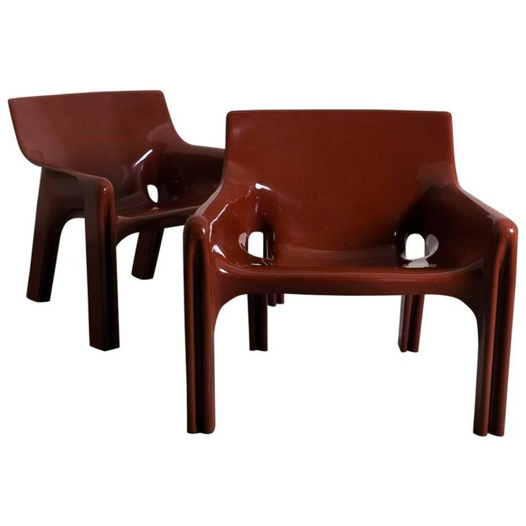 Pair of Vintage Vicario Chair by Vico Magistretti, Italy, 1972