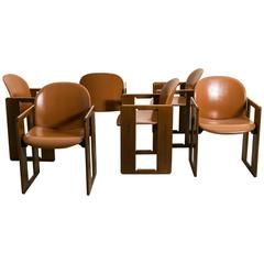 Six Leather Dialogo Dining Chairs by Afra and Tobia Scarpa for B&B Italia