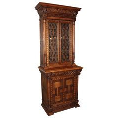 19th Century Dual Level Hand-Carved Book Case